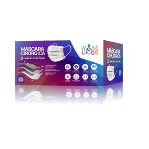 Máscara Descartável Tripla Proteção com Elástico e Clip Nasal - Caixa 50 unidades - MAIS VIVOS